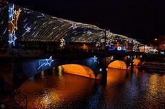 Pont en fte (pigosse) Tags: bridge light night star illumination pont fte nol nuit laval toile