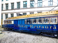 The Christchurch Tramway Restaurant (Steve Taylor (Photography)) Tags: tram tramway restaurant electric overheadlines art digital building window blue black brown white grey newzealand nz southisland canterbury christchurch cbd city perspective reflection outline boat