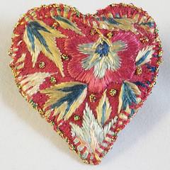 Heart Brooch from Vintage embroidery (Lynwoodcrafts) Tags: brooch heartbrooch valentine embroideredbrooch embroideredjewellery textilebrooch textilejewellery vintageembroidery handembroidery