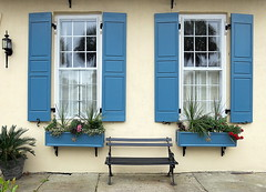 A seat for passersby, 75 East Bay Street (1816), Charleston, SC (Hunky Punk) Tags: house antebellum window iron bench seat shutters blue eastbay street charleston southcarolina sc dwwg