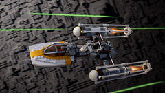 Gold Leader's Y-Wing Starfighter in the battle of Yavin (Cyh Naan) Tags: lego starwars deathstar ywing xwing yavin lukeskywalker laser goldleader