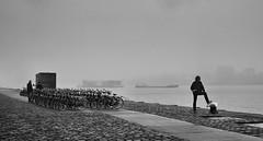 hazy day in Rotterdam (gerhardkörsgen) Tags: nebel haze rotterdam gerhardkoersgen holland 2016 streetphotography schwarzweiss blackwhite city monochrome man melancholy dutch ships mood