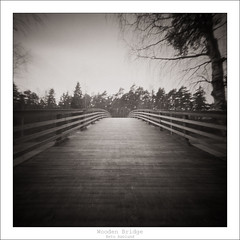 Wooden Bridge (eetuaspl) Tags: pinhole realitysosubtle 6x6 kodak ektar 120 mediumformat black white bridge wooden square film long exposure roll