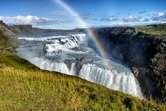 Gullfoss rainbow (halifaxlight) Tags: iceland goldencircle gullfoss waterfall rainbow figures spray sunny autumn fall cataracts