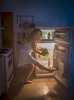 Selfridge (V.Duplain) Tags: selfie self portrait autoportrait girl woman model night fridge creative canon 6d 2470mm light flash blue orange heinz ketchup sandwich legs white dress kitchen