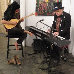 Art gallery musicians, French Quarter of New Orleans (oldrockerward) Tags: shoeless lute hat neworleans artgallery guitar keyboard bohemian musicians musicphotography