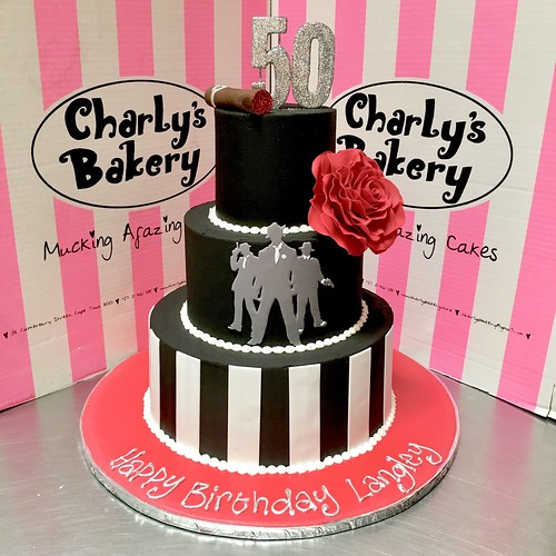 3 Tier Mafia Themed 50th Birthday Cake Iced In Black Chocolate Ganache With Stripes