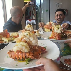It's a lobster lunch!!! Good thing we don't have to pay for this!