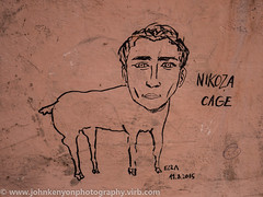 Nikoza Cage :-) (johnkenyonphotography@gmail.com) Tags: street city roof portrait people blackandwhite bw music white holiday streetart black streets colour tower art history blanco church monochrome beauty landscape photography freedom artist noir break republic peace grafitti view shot y czech prague spires candid negro protest churches free lisa chapel praha bn spire roofs communism chapels czechrepublic beatles cz monochrom domes johnlennon et blanc praag thebeatles  peacewall nicolascage hcb citybreak straatfotografie straatfotograaf