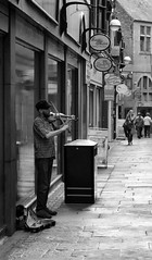 Past Sun Kiss to the Sound of the Music (fishyfish_arcade) Tags: uk greatbritain blackandwhite bw white black monochrome blackwhite nikon photos sheffield streetphotography streetscene 1855mm southyorkshire d3200