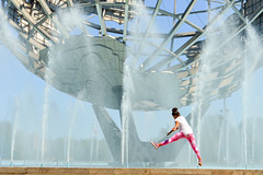 Jump (Francisco Anzola) Tags: park nyc usa ny newyork monument architecture globe child unitedstates flushingmeadows queens athlete worldfair