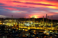 Oil refinery (Patrick Foto ;)) Tags: auto lighting sunset chimney plant color tower industry ecology metal night thailand construction energy industrial factory technology tank power iran diesel smoke tube greenpeace engineering automotive steam gas business smokestack pollution chemistry saudi arabia oil production environment petrol carbon protection distillery refinery economy pipeline th built chemical supply petroleum manufacture distillation petrochemical laemchabang changwatchonburi