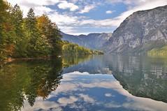 Lake Bohinj reflection. (Slovenia) (stevelamb007) Tags: 2014slovenia slovenia lakebohinj julianalps lake landscape reflection mountains forest clouds nikon d90 18200mm nature stevelamb