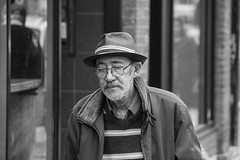 book of experiences (Jeff Hayward (@pointandwrite)) Tags: street urban bw man hat glasses candid character elderly experience meloncholy