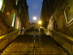 Aberdeen at Night in the Rain (Ian Robin Jackson) Tags: windows night lights scotland steps aberdeen lamps atnight