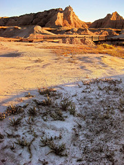 Badlands Boardwalk (erykah36) Tags: park blue shadow sky terrain usa brown nature america evening wooden purple desert natural bright dusk empty south united gray dry sunny national boardwalk remote states badlands geology sunlit desolate barren dakota arid attraction formations geological