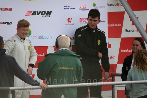 Carlito Miracco takes his place on the podium at the Fiesta Junior Championship, Brands Hatch, 2015