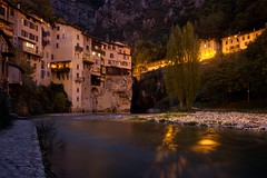 Pont en Royans (loveexploring) Tags: longexposure light house france reflection night river town twilight bourne vercors clifftop hanginghouses pontenroyans maisonssuspendues isere rhonealpes