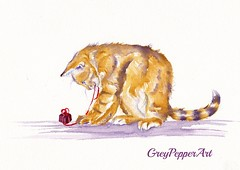 The Present Wrapper (GREY PEPPER ART) Tags: cats playing art tabby kittens presents watercolour
