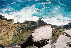 Ocean throne (Jake Shroombes) Tags: ocean blue max color colour brick film tourism beach water bondi azul analog 35mm rocks waves kodak walk voigtlander bessa sydney australia 400 ultra throne bronte skopar c41 ultramax r2a