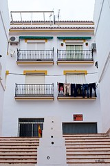 Trousers (Kym.) Tags: street window stairs walking spain alley notice walk balcony clothes laundry trousers andalusia ac antenna andalucia competa