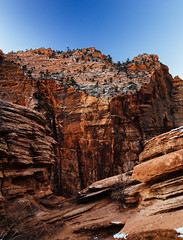 cliff's edge (almostsummersky) Tags: rockformation snowfall sunrise desert overlook canyon nationalpark orange rocks trees canyonoverlooktrail travel snow red zion sky winter dawn morning utah mountain hurricane unitedstates us