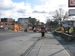 REPLACING THE GREENKILL AVE BRIDGE (richie 59) Tags: ulstercountyny ulstercounty newyorkstate newyork unitedstates autumn bridge kingstonny kingston midtownkingstonny midtownkingston broadway midtown nystate oldbridge richie59 underpass america outside csx constructionarea constructionsite weekday fall friday 2016 backhoe construction bridgework workzone work dec2016 dec92016 2010s americancity uscity city smallcity urban citystreet street sidewalks buildings oldbuildings oldbrickbuildings brickbuildings trees eastbound working workers concretework orangecones cold morning dunkindonuts coffeebreak men people