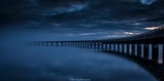 Into the unknown....... (ben.leng) Tags: longexposure le blue bridge train water tay river rivertay clouds gloaming reflection tide nikon nik nikkor d750 manfrotto adobe dundee fog mist rail railbridge tayrailbridge tayside angus