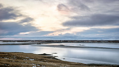 Without fire, it's a dance to dust (OR_U) Tags: 2017 oru iceland borgarnes borgarbyggð borgarfjörður 169 widescreen landscape seascape fjord sea city reflection sunset clouds sky winter