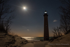 DSC_0705 Copy (David W. Behrens) Tags: lakemichigan lighthouse littlesablepointlighthouse mearsmichigan greatlakes silverlake moon nightphotography puremichigan moonlight