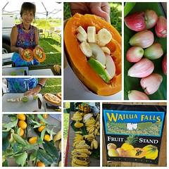 Fresh tropical fruit, custom, at Wailua Falls, Kauai, Hawaii (Tatiana12) Tags: instagramapp kauai freshfruit fruitstand wailuafalls square squareformat iphoneography uploaded:by=instagram