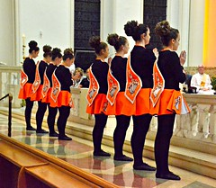Irish dancers on the altar