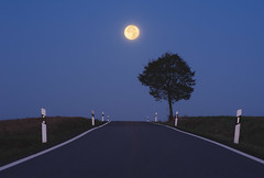 Road to the Moon (JØN) Tags: road blue moon tree germany dawn countryside nikon country 70300mm rheinland vr pfalz landstuhl d700 supermoon