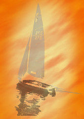 sail boat (wslewis73) Tags: orange water photoshop boat pastel edited calm sail layers ripples cs5
