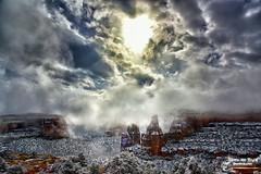 IN THE BEGINNING ... (Aspenbreeze) Tags: snow weather fog clouds landscape colorado spires foggy canyon hoodoos rockformations coloradonationalmonument redrockformations aspenbreeze moonandbackphotography bevzuerlein