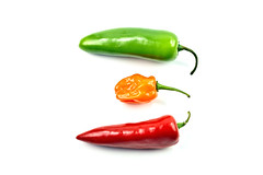 Project 365 - 1/3/2017 - 3/366 (cathy.scola) Tags: project365 odc peppers three onwhite red orange green vegetable veggie hot heat jalepeno chili habenero fresh spicy