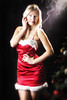 Smoking hot (BarryKelly) Tags: christmas lady model firl girl woman red dress short smoke tree blonde