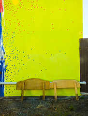 Bed Bugs (Steve Taylor (Photography)) Tags: headboard dots spots pipe art graffiti mural streetart fence wall blue yellow red newzealand nz southisland canterbury christchurch city cbd