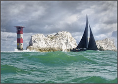 Passing the Needles Lighthouse (rogermccallum) Tags: sail sailing yacht yaachting boat boating black lighthouse roundtheisland sea solent platinumheartaward