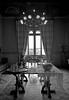 Albertis Castle 10 (PhillMono) Tags: nikon d7100 black white monochrome sepia light shade grey albertis castle table genoa italy glass cup plate chair empty reflection chandelier