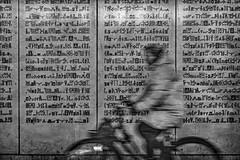 Apparition (dbrugman) Tags: fujifilm xt1 xf35mmf2 blackandwhite blackwhite bw monochrome apparition surreal glyphs bicycle bike woman wall motionblur motion ghostly amsterdam netherlands nederland holland