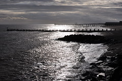 Shimmering contre jour (Kirkleyjohn) Tags: lowestoft lowestoftbeach claremontpier pier groyne beach light contrejour water waves sea seaside seashore seascape seafront silhouette glitterpath