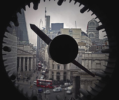 The Clock Room [26/365 2017] (steven.kemp) Tags: london poultry clock room bank station red bus gherkin cheesegrater walky talky cornhill bankofengland royalexchange city urban looking out window