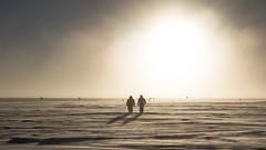 Walking in the ice desert (redfurwolf) Tags: southpole antarctica ice snow rx100m4 sun outdoor desert sony redfurwolf walk flag cloud