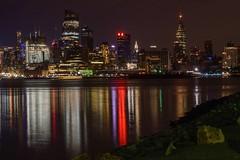 Skyline Reflections (Lojones13) Tags: reflections lights skyline river water hudsonriver newyork buildings night dark d5300