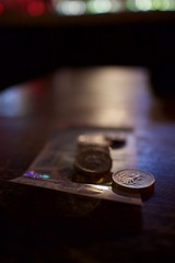 Money (Rockallpub) Tags: money change sterling coin note fiver bokeh focus canon eos m3 efm22mmf20 2000 canoneosm3