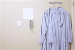 a day at the doctors (Lynn Friedman) Tags: nobody favstock soft california 94015 pacificheights sanfrancisco defocused patient robes pinstripe examroom doctoroffice coathooks wall inside