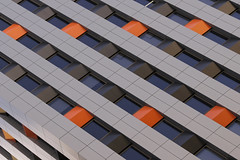 Still attracted to this building's renovations (ToBoote) Tags: orange window cladding angular geometric diagonal adelaide symmetry