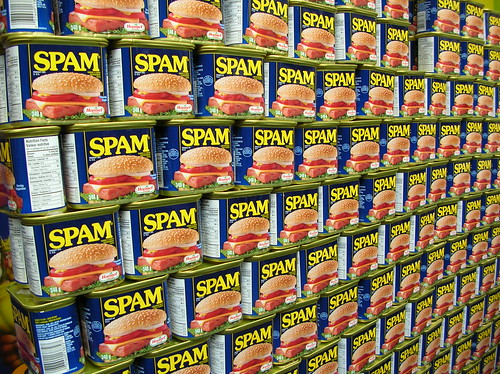 Stack of cans of spam