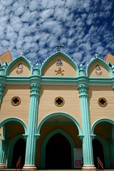 panganud (Farl) Tags: travel blue sky green church nature colors clouds facade catholic faith philippines religion culture arches cotton cumulus cebu simbahan portals cebusugbo pkchallenge